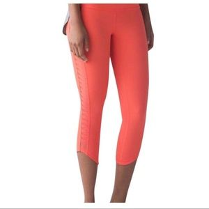 Lululemon Orange Sun Salutation Crop Legging